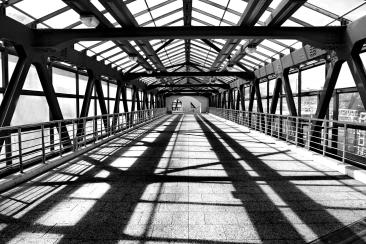 pedestrian bridge over railroad